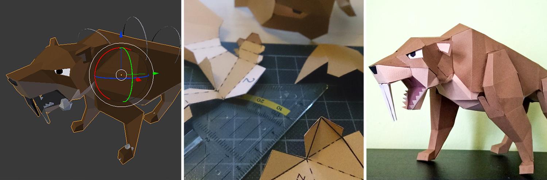 3D Papercraft Saebelzahntiger