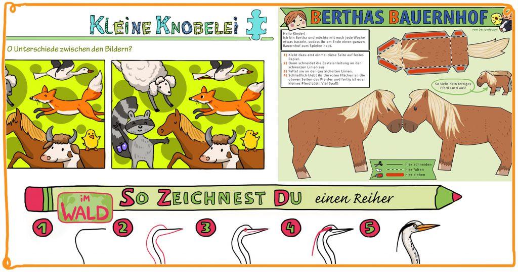 shz kina Kinderrätsel Bastelbogen Zeichenschule Designdoppel