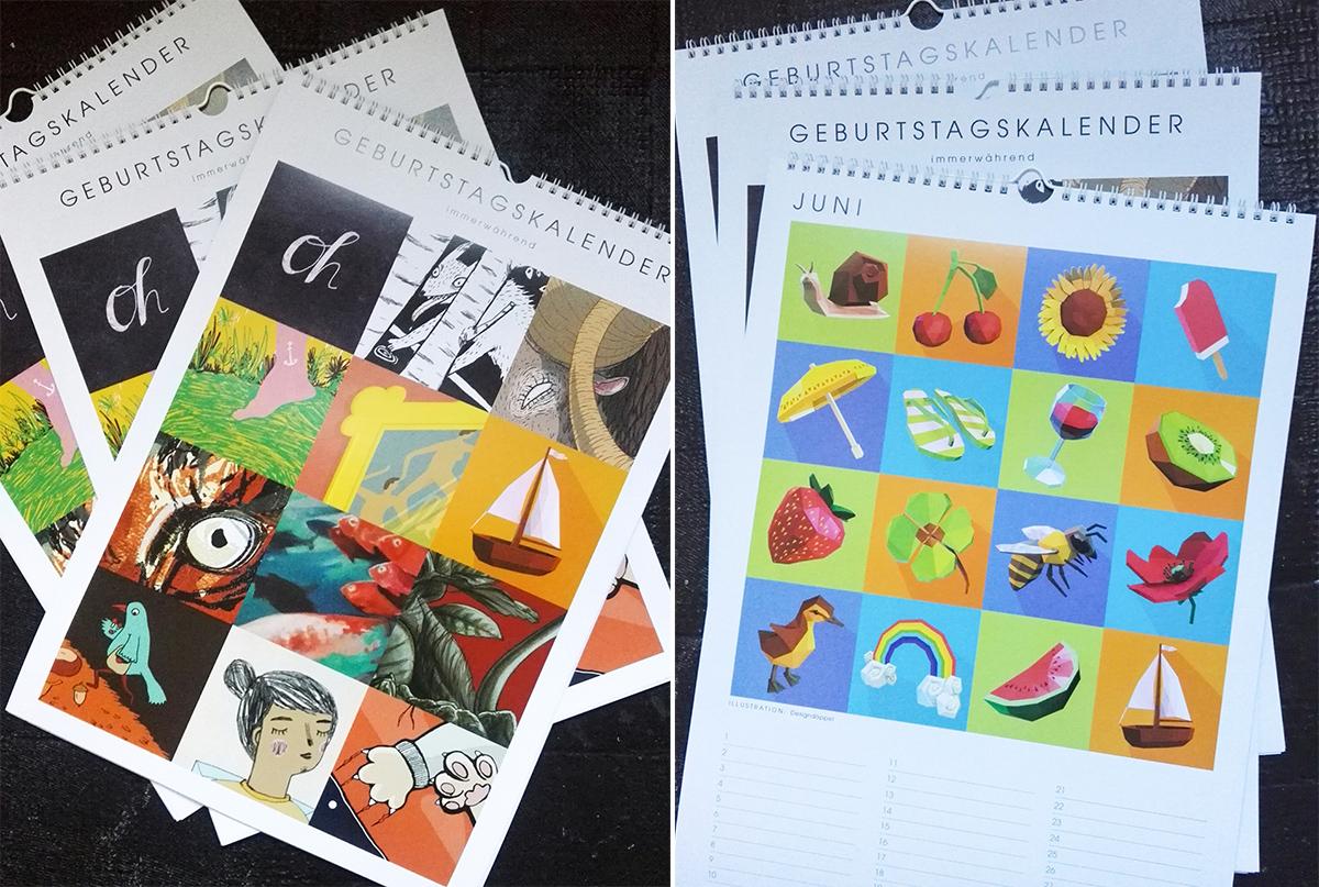 Geburtstagskalender Juni Illustration Designdoppel