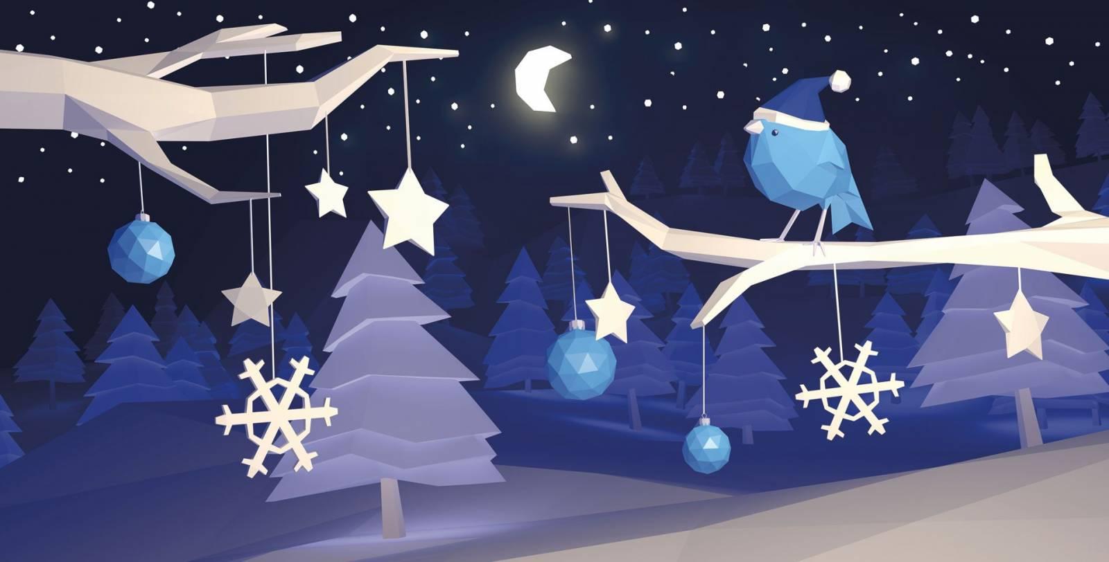 low Poly Weihnachtskarte Schneelandschaft