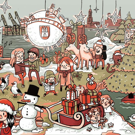 Weihnachtskarte Hamburg Wimmlelbild Illustration