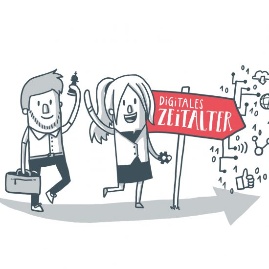 Digitales Zeitalter Illustration Designdoppel