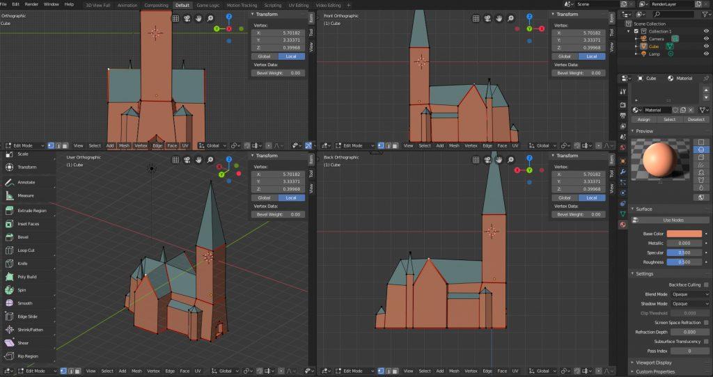 Friedenskirche Papercraft - Erstellung des 3D-Modells in Blender