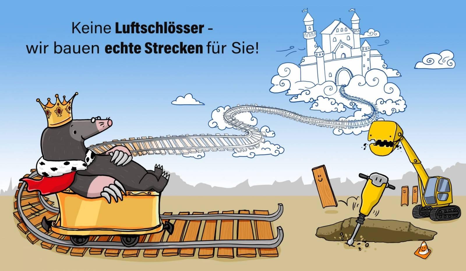 Maulwurf Luftschloss König Baustelle Illustration