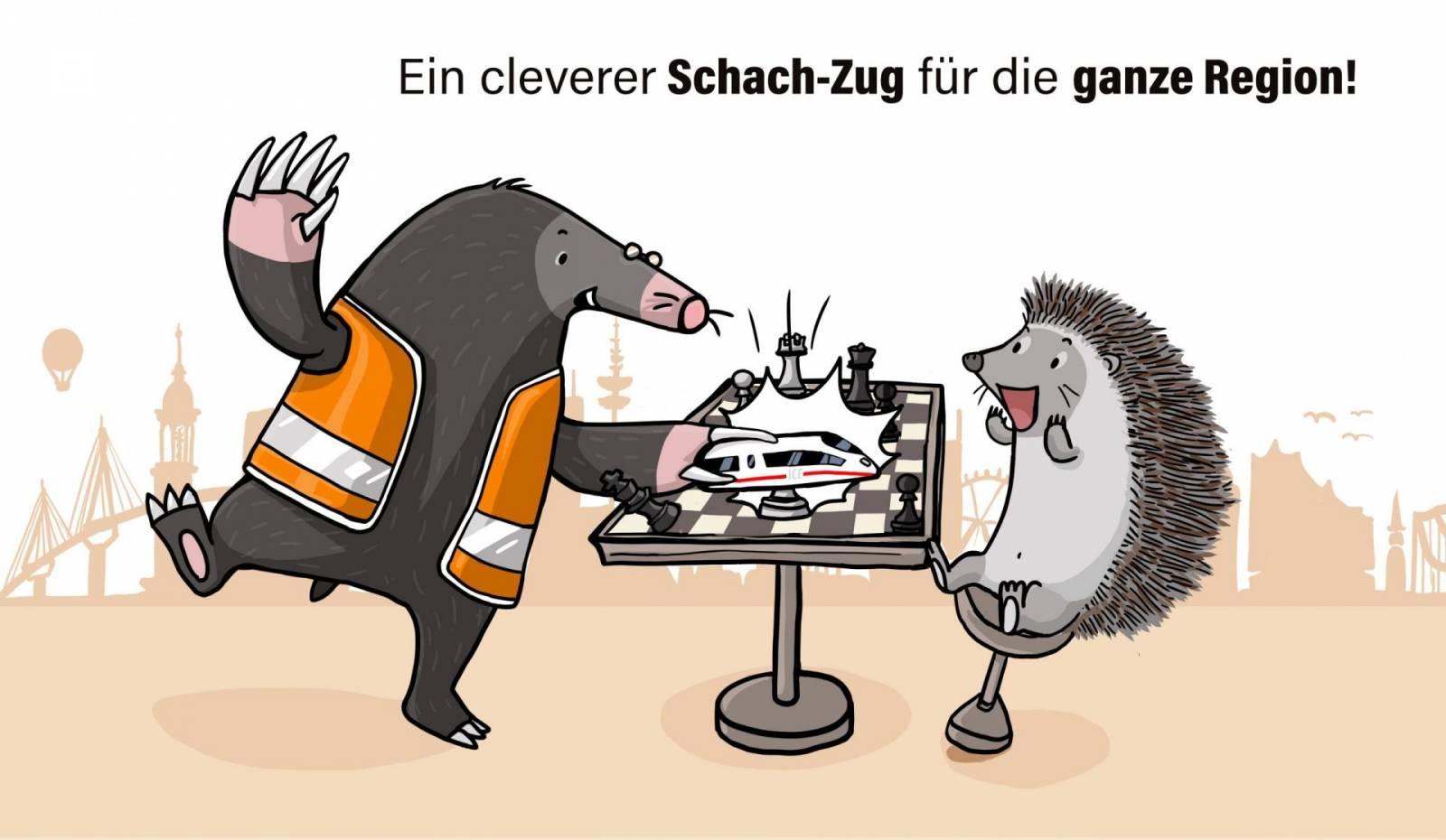 Maulwurf Schachzug Illustration Bahn