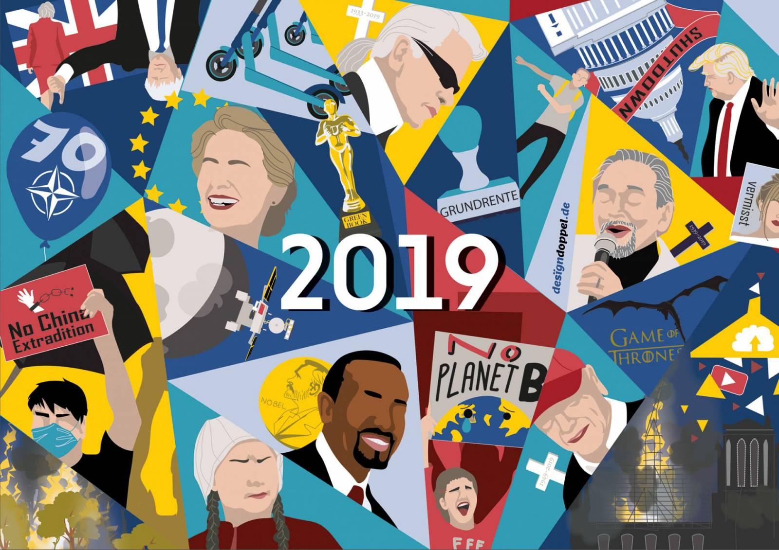 Illustrierter Jahresrückblick 2019 Illustration Grafik